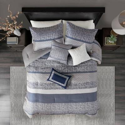7pc King Harmony Jacquard Comforter Set - Navy