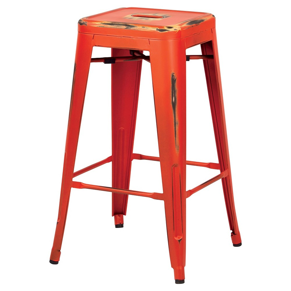 Osp Designs Bristow 26 Antique Metal Barstools - Orange (Set of 2)
