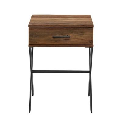 Jones Rustic Modern 1 Drawer X Leg Side Table - Saracina Home