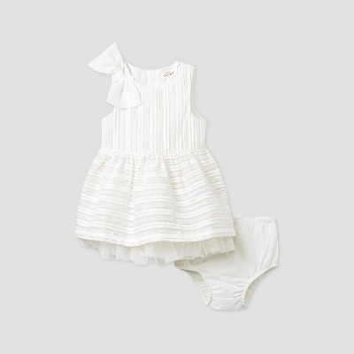 Baby Girls' Lurex Striped Sleeveless Dress with Diaper Cover - Cat & Jack™ White 6-9M