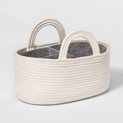 Coiled Rope Diaper Caddy with Dividers - Cloud Island™ Cream