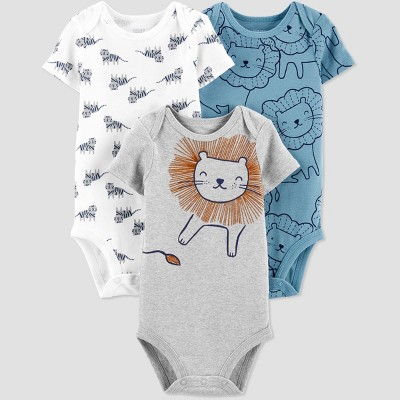 Baby Boys' 3pk Lion Bodysuit - Just One You® made by carter's Mist Gray/White/Blue Newborn
