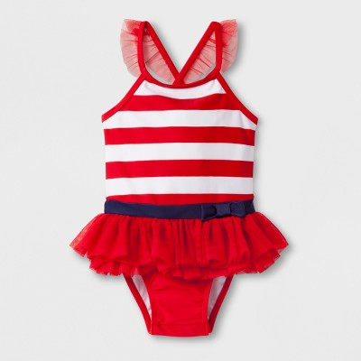 Baby Girls' Stripe One Piece Swimsuit - Cat & Jack™ Red 12M