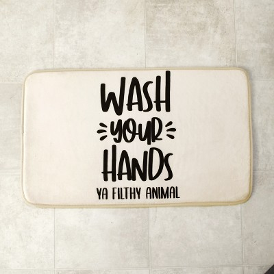 Lakeside Wash Your Hands Ya Filthy Animal Bathroom Rug with Nonslip Latex Backing