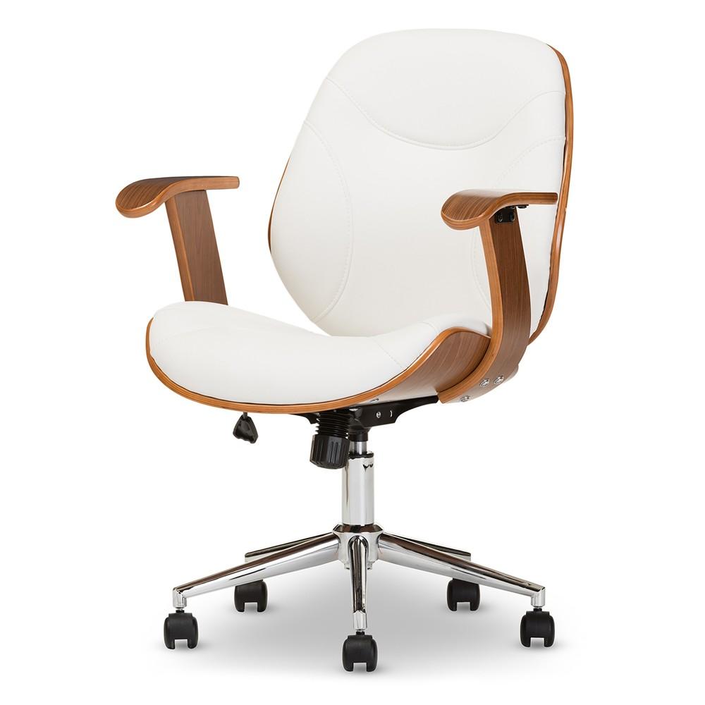Rathburn Modern and Contemporary Office Chair - White, Walnut Brown - Baxton Studio