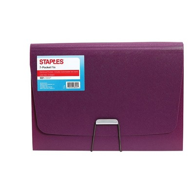 Staples Plastic 7 Pocket Reinforced Expanding Folder Letter Size Purple TR52021/52021