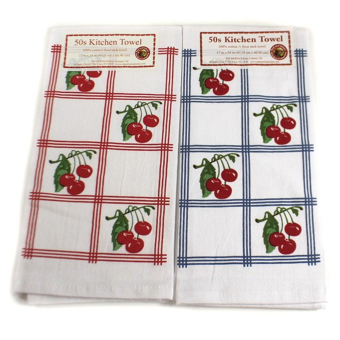 """Tabletop 24.0"""" Country Cherries Towels Set/2 100 Cotton 50S Design Retro Red And White Kitchen Company - Kitchen Towel : Target"""