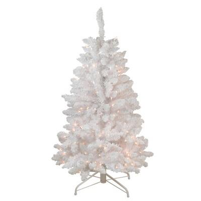 Northlight 4' Prelit Artificial Christmas Tree Slim Flocked Pine - Clear Lights