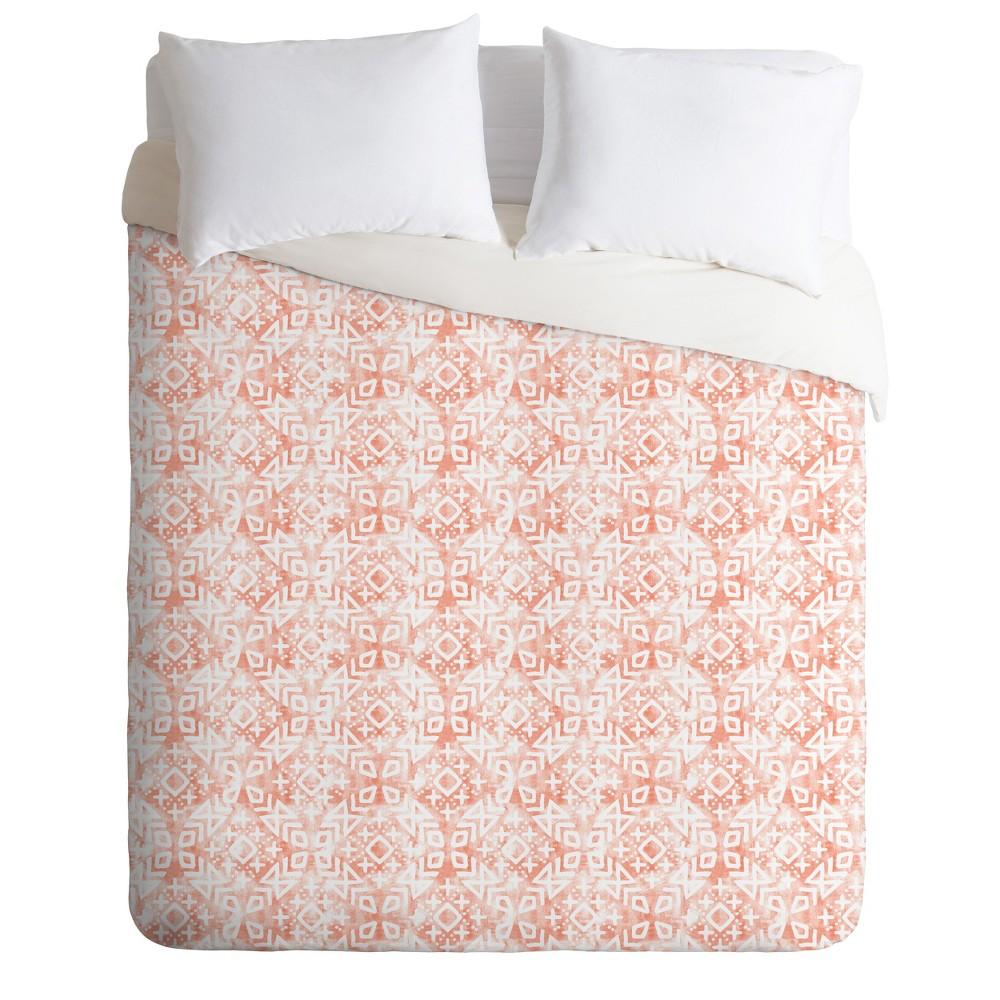 Full/Queen Little Arrow Design Co Modern Morroccan Geo Duvet Set Pink - Deny Designs