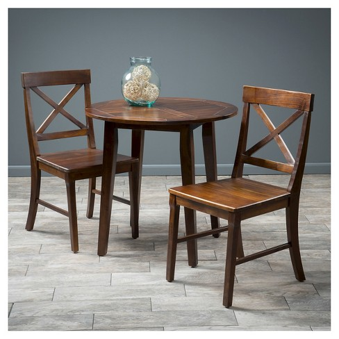 Carridge 3pc Round Wood Dining Set Rich Mahogany Christopher Knight Home Target