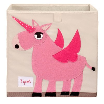 3 Sprouts Kids Childrens Collapsible Felt 13x13x13 Inch Storage Cube Bin Box for Cubby Shelves, Pink Unicorn