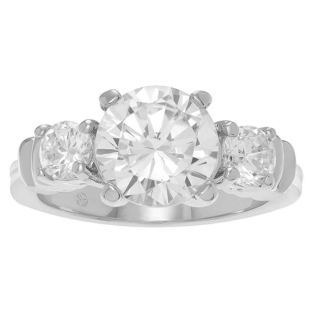 2 4/5 CT. T.W. Round-cut CZ Basket Set Three-stone Engagement Ring In Rhodium-plated Brass - Silver, 7, Girl's