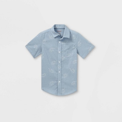 Boys' Woven Dino Print Short Sleeve Button-Down Shirt - Cat & Jack™ Blue