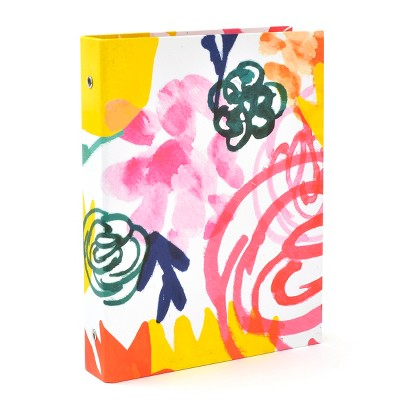 floral ring binder for paper organization