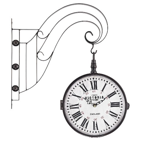 "Victoria Station 19"" 2-Side Wall Clock Bronze - Lazy Susan® - image 1 of 1"