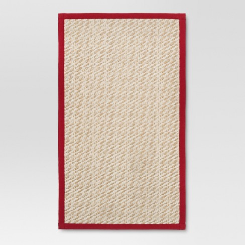 "34""x20"" Twill Rug Natural/Red - Threshold™ - image 1 of 2"