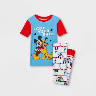 Boys' Mickey Mouse & Pluto 2pc Pajama Set - Blue/Red/White - Disney Store