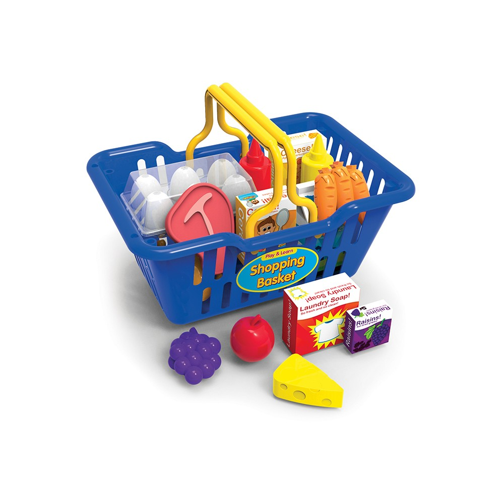 The Learning Journey Play and Learn Shopping Basket (25pc) Kids can enjoy the complete shopping experience with the Play and Learn Shopping Basket! Our kid-sized Shopping Basket is easy to carry with its lightweight plastic construction and big handles. Fun Accessories include a variety of plastic and cardboard food items. Gender: unisex.