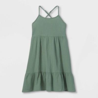 Girls' Gauze Sleeveless Dress - Cat & Jack™ Army Green