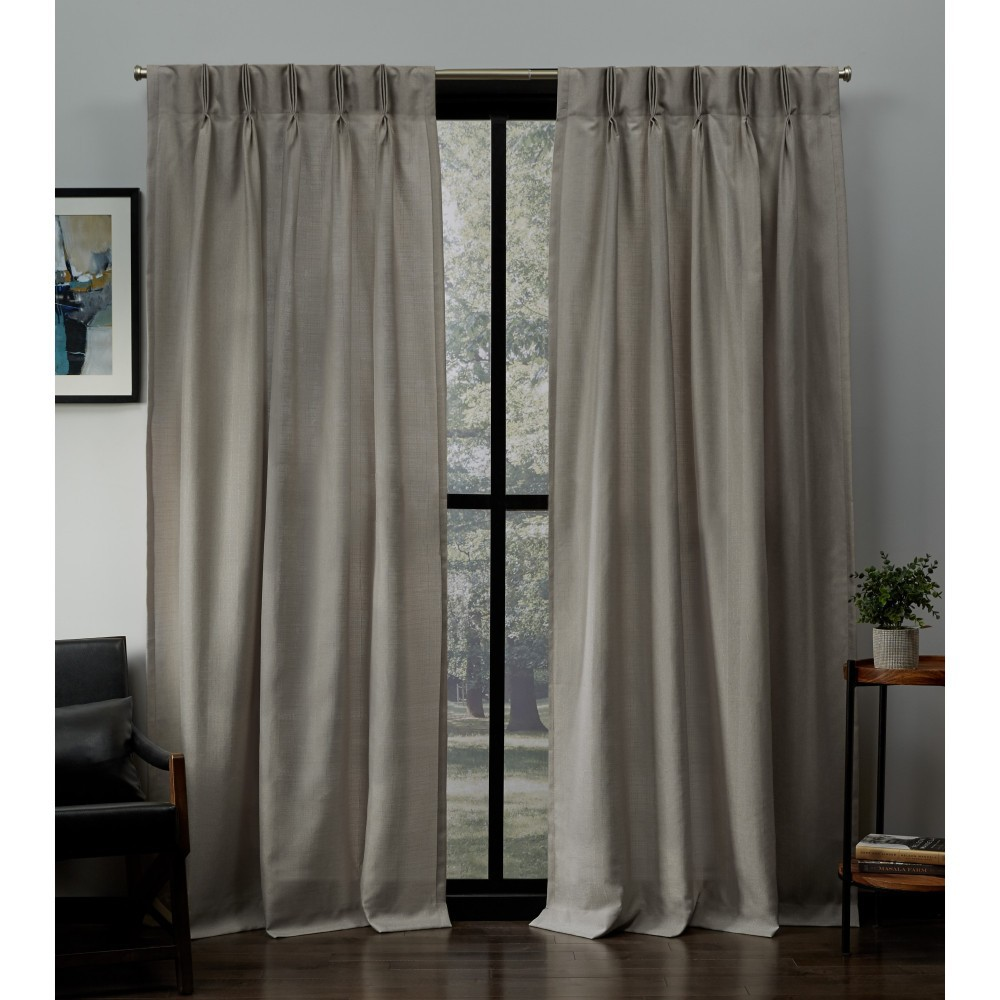 "Image of ""27""""x84"""" Loha Linen Pinch Pleat Window Curtain Panel Pair Beige - Exclusive Home"""