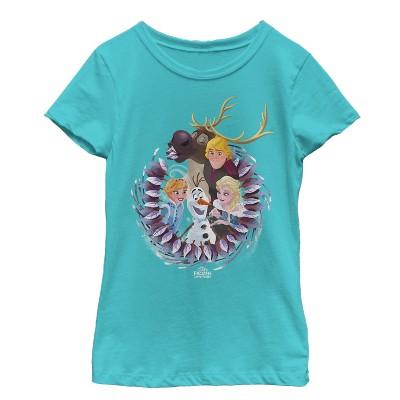 Girl's Frozen Character Wreath T-Shirt