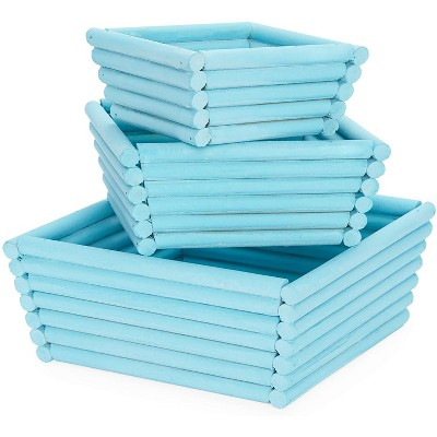 Juvale 3 Pack Wooden Crate Nesting Boxes for Storage , Square Crate Blue Organizers (3 Sizes)