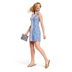 Women's My Fans Sleeveless Split Neck Shift Mini Dress - Lilly Pulitzer for Target Blue/Pink