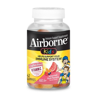 Airborne Kids Immune Support Gummies with Vitamin C & Zinc - Assorted Fruit - 42ct