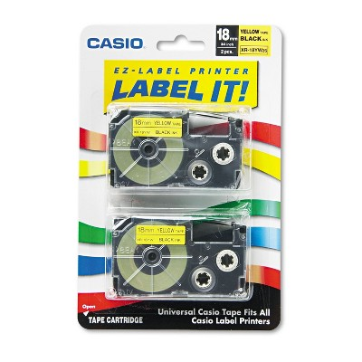 Casio Tape Cassettes for KL Label Makers 18mm x 26ft Black on Yellow 2/Pack XR18YW2S