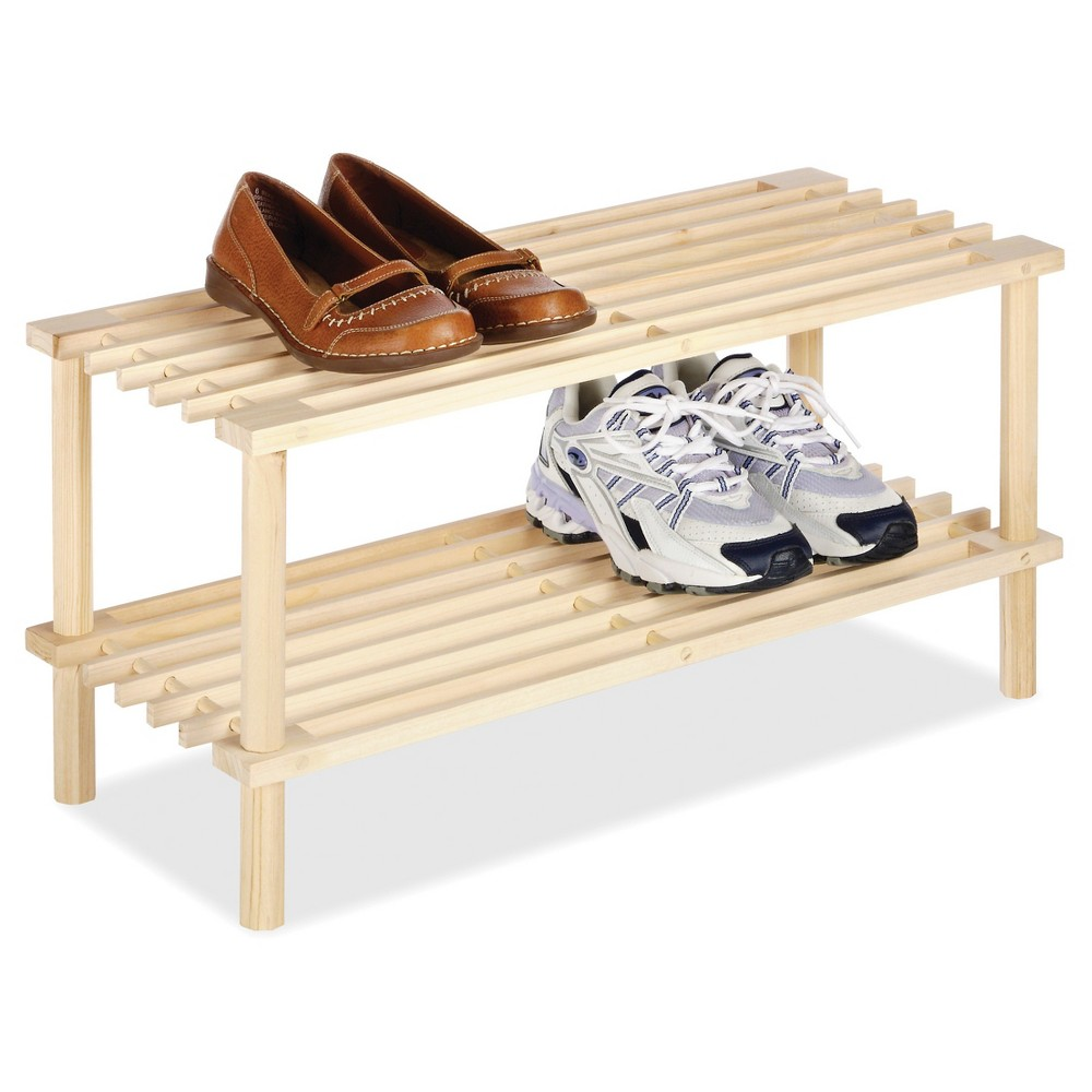 Image of Whitmor 2-Tier Shoe Rack - Natural Wood, Brown