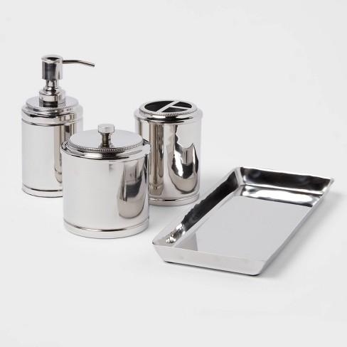 4pc Metal Bathroom Accessories Set, Polished Nickel Bathroom Accessories