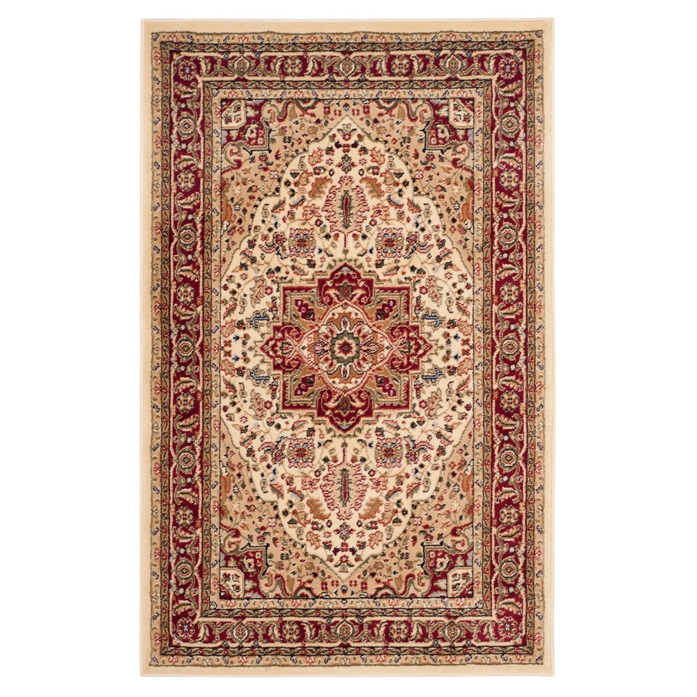 Ivory/Red Floral Loomed Area Rug 5'3