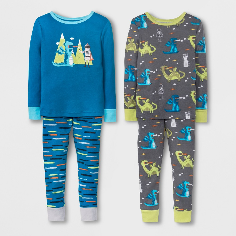 Toddler Boys' Dragon 4pc Pajama Set - Cat & Jack Blue 3T