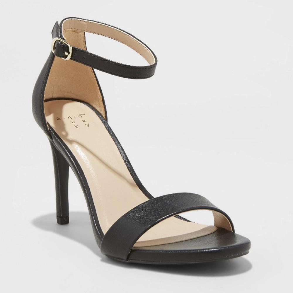 Women's Myla Wide Width Stiletto Pumps - A New Day Black 7W, Size: 7 Wide