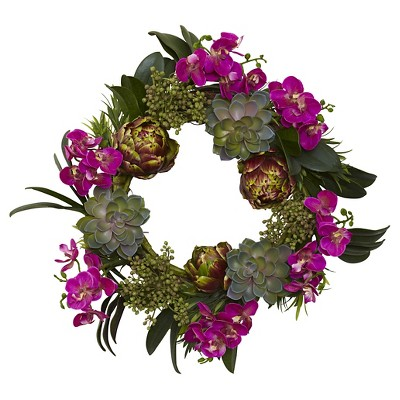 """Nearly Natural Orchid Artichoke and Succulent Wreath Purple (20"""")"""