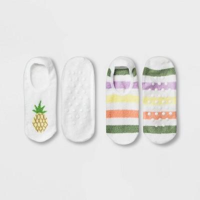 Women's Pineapple Cozy 2pk Liner Socks - White 4-10