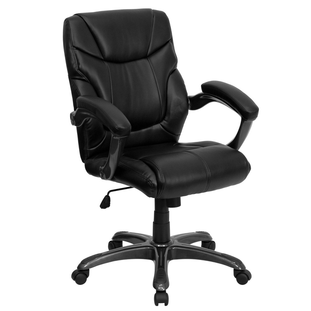 Overstuffed Swivel Task Chair Black Leather - Flash Furniture