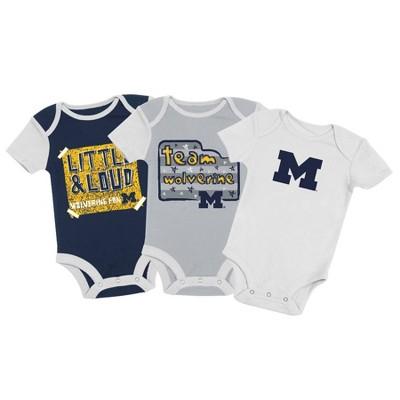 NCAA Michigan Wolverines Baby Boys' 3pc Bodysuit Set