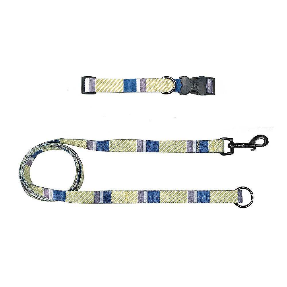 Bow & Arrow Stripe Dog Collar & Leash Set - Indigo (Blue) -L