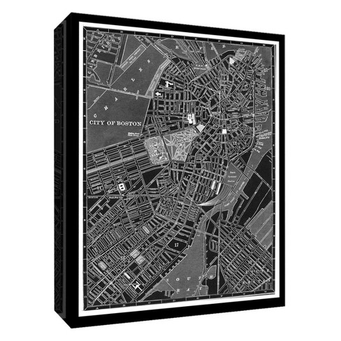 "City Map Of Boston Decorative Canvas Wall Art 11""x14"" - PTM Images - image 1 of 1"