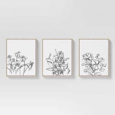 """(Set of 3) 16"""" x 20"""" Inky Floral Framed Canvases - Threshold™"""