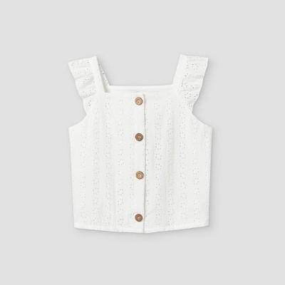 Girls' Ruffle Button-Front Short Sleeve T-Shirt - art class™