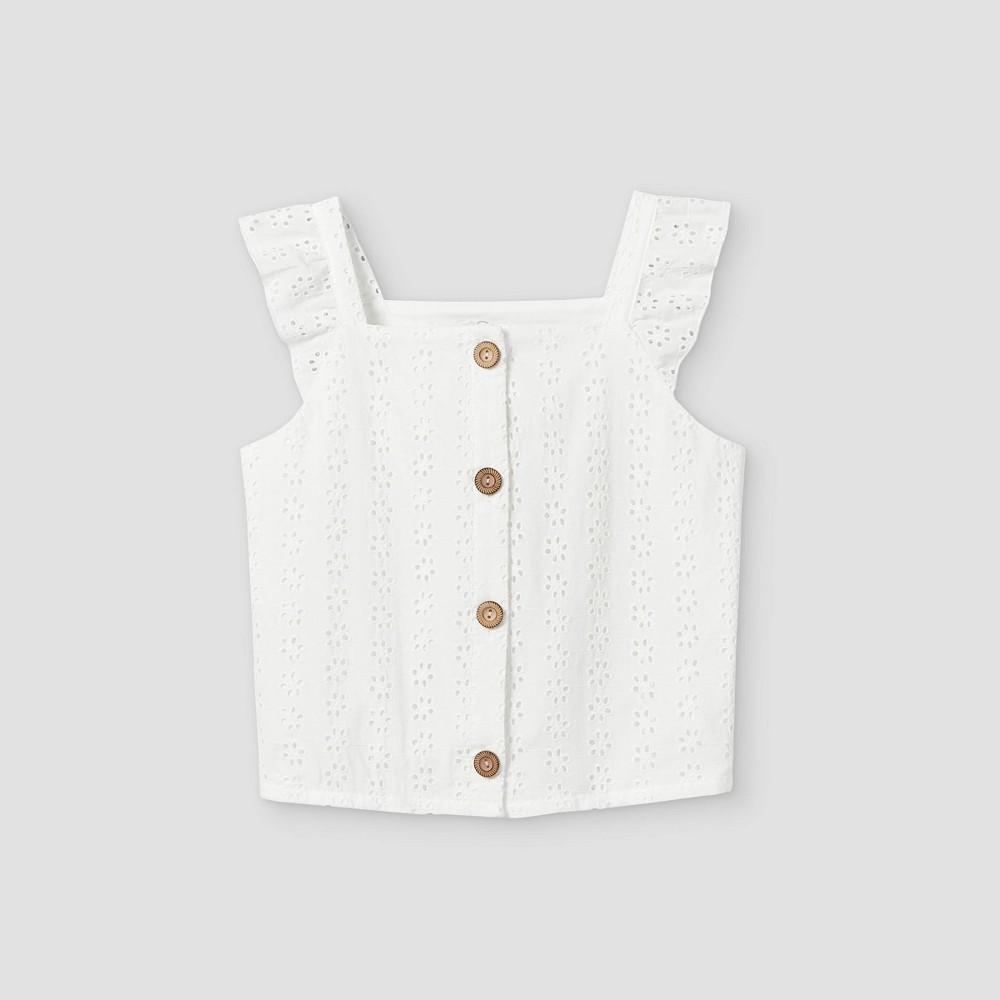 Girls 39 Ruffle Button Front Short Sleeve T Shirt Art Class 8482 White M