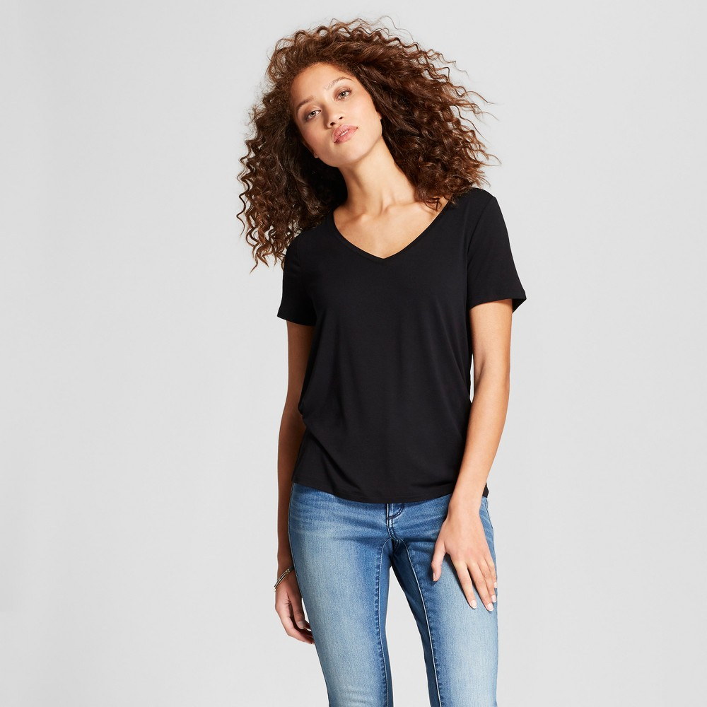 Women's Any Day V-Neck Short Sleeve T-Shirt - A New Day Black XL