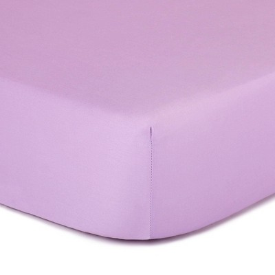 The Peanut Shell Solid Cotton Fitted Crib Sheet - Purple