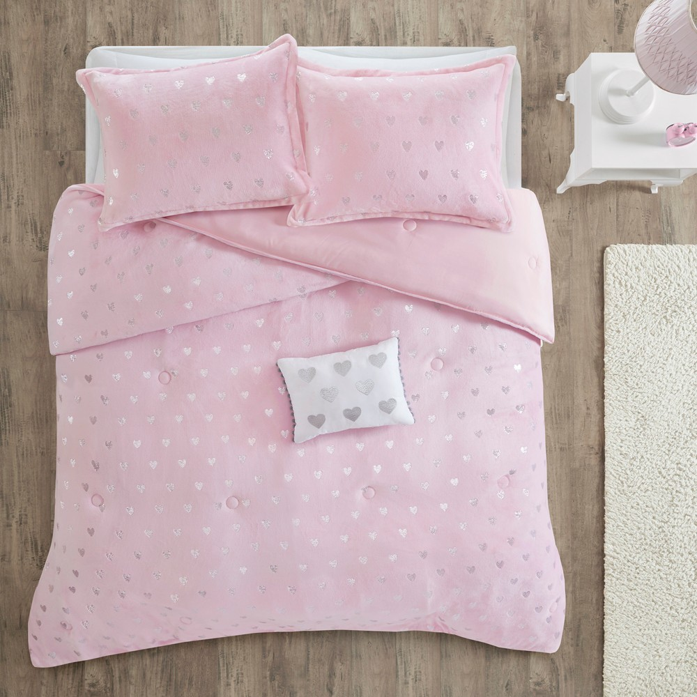 3pc Twin Twin Xl Audrey Printed Comforter Set Pink Silver