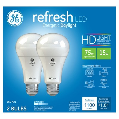 General Electric 75w 2pk Refresh Daylight Equivalent A21 LED HD
