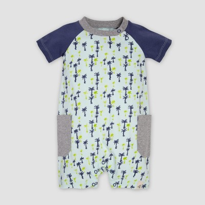 Burt's Bees Baby® Baby Boys' Organic Cotton Breezy Palms Raglan Romper - Indigo/Green 3-6M