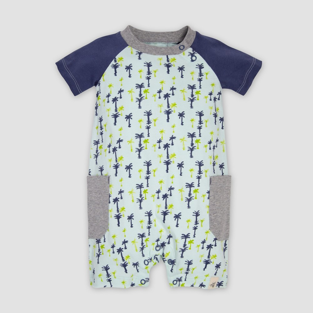 Burt's Bees Baby Baby Boys' Organic Cotton Breezy Palms Raglan Romper - Indigo/Green 6-9M, Blue