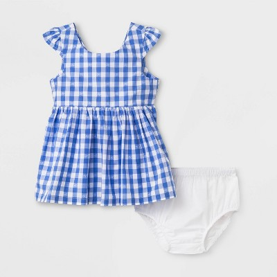 Baby Girls' Gingham Dress - Cat & Jack™ Blue 0-3M